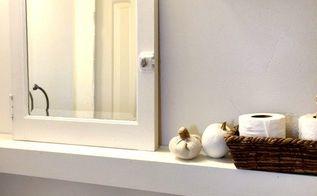 farmhouse bathroom update, bathroom ideas, home improvement, painting, shelving ideas