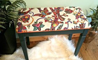 piano bench makeover, painted furniture, reupholster
