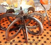 my fall horse shoe pumpkin, crafts, halloween decorations, repurposing upcycling, seasonal holiday decor