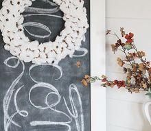 diy faux cotton stem wreath, crafts, home decor, wreaths