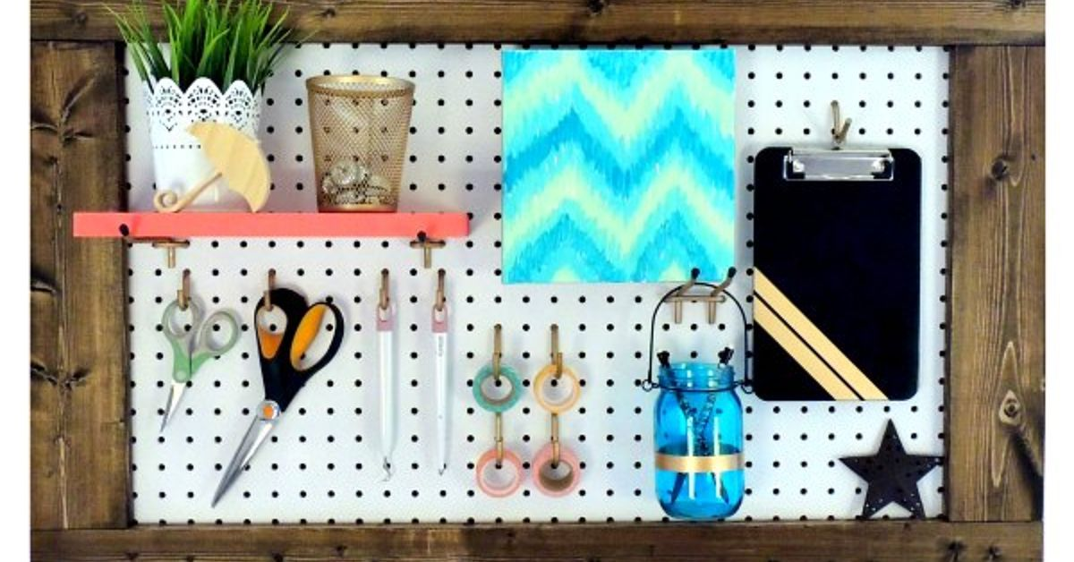framed pegboard craft room organization hometalk