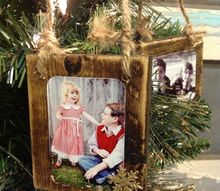 homemade wood scrap photo ornaments, christmas decorations, crafts, seasonal holiday decor