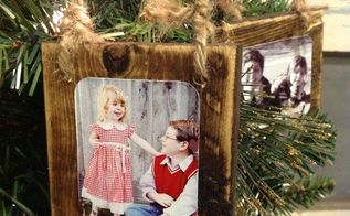 homemade wood scrap photo ornaments, christmas decorations, crafts, seasonal holiday decor