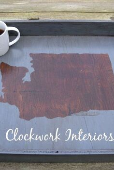 diy state silhouette tray without the use of a cutting machine, crafts, repurposing upcycling