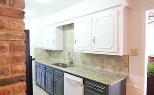 navy and white two toned kitchen cabinets, kitchen cabinets, kitchen design, painting