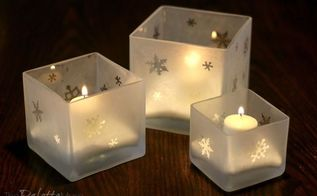 make your own etched glass candleholders, christmas decorations, crafts, how to, seasonal holiday decor