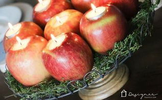 thanksgiving centerpiece with diy apple candles, crafts, how to, seasonal holiday decor, thanksgiving decorations