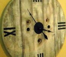 diy clock from a wooden spool, diy, painted furniture, repurposing upcycling, wall decor, woodworking projects