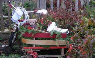 vintage child s sleigh holiday garden decor, christmas decorations, repurposing upcycling, seasonal holiday decor