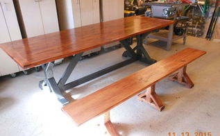 dinning room table and bench, painted furniture