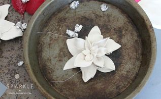 scultpted clay poinsettias, christmas decorations, crafts, seasonal holiday decor