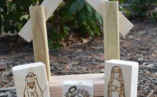 wood burned nativity blocks, christmas decorations, crafts, repurposing upcycling