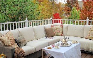autumn charm on a townhouse patio, decks, outdoor furniture, outdoor living, seasonal holiday decor, urban living