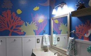 diy under the sea themed kid s bathroom, bathroom ideas, painting