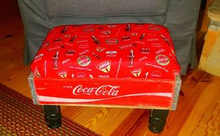 warming my feet on the coca cola crate footstool, chalk paint, painted furniture, repurposing upcycling