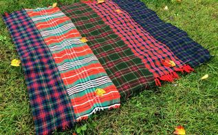 diy plaid throw blanket from vintage wool scarves, crafts