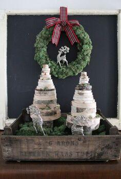 diy wood slice christmas trees, christmas decorations, crafts, seasonal holiday decor