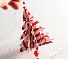 origami tree handmade ornament, christmas decorations, seasonal holiday decor