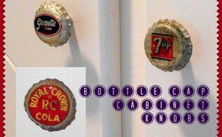 diy vintage soda bottle cap cabinet knobs, crafts, kitchen cabinets, kitchen design, repurposing upcycling