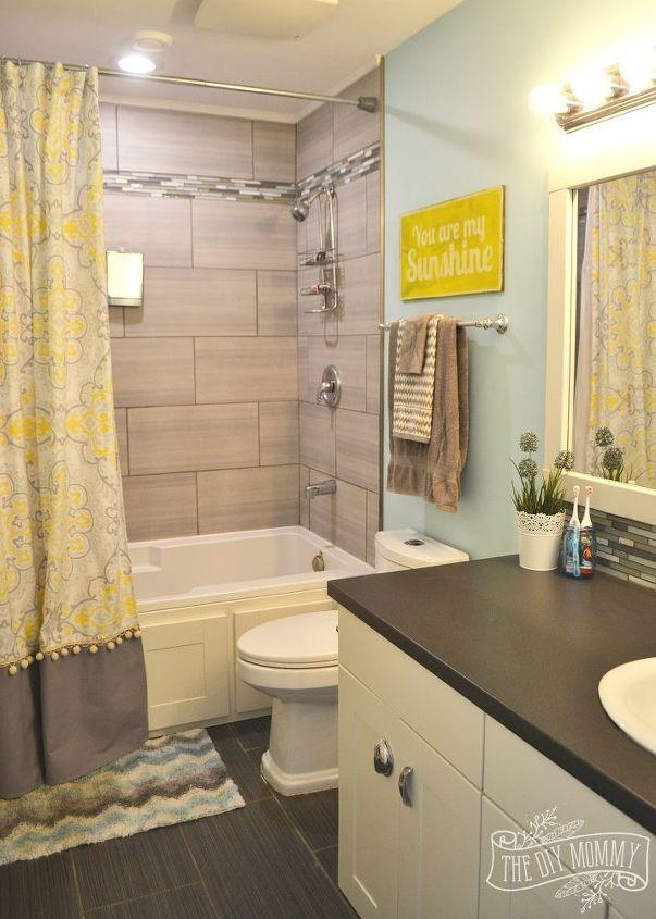 A happy yellow aqua kids 39 bathroom hometalk for Bathroom ideas yellow