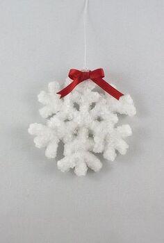 crystal snowflakes, christmas decorations, crafts, repurposing upcycling, seasonal holiday decor, Add a bow