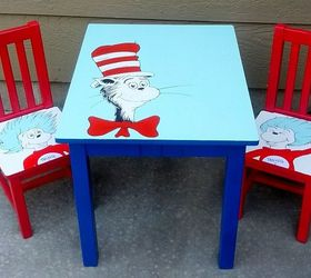 Lovely Dr Seuss Table Chairs Hand Painted Kids Furniture, Painted Furniture