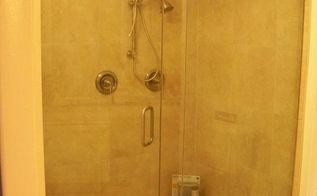 q what is the best way to keep my glass shower doors clean, bathroom ideas, cleaning tips, house cleaning, We later added a teak fold down seat which helps alot too You can see we have alot of glass to keep clean lol