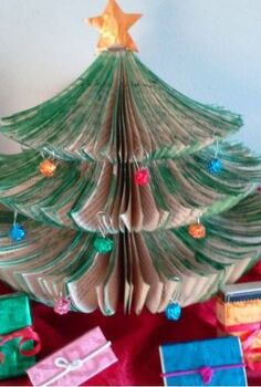 tiny space upcycled book christmas tree diy, christmas decorations, crafts, repurposing upcycling