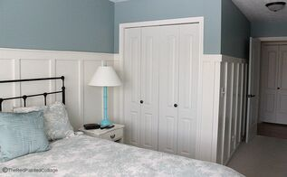 diy easy inexpensive board and batten, bedroom ideas, diy, home improvement, how to, woodworking projects, Our finished board and batten in our bedroom
