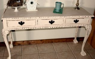 easy project chalk painted sofa entry table, painted furniture, repurposing upcycling