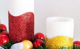 diy glitter christmas candle centerpiece, christmas decorations, crafts, how to, seasonal holiday decor