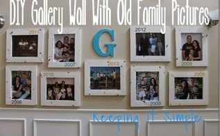 diy gallery wall with old family picturs diy, foyer, home decor, wall decor