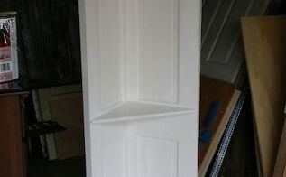 100 yr old vintage 6 panel door converted into a corner shelf, repurposing upcycling, shelving ideas