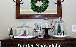 winter snowglobe village, christmas decorations, crafts, mason jars, seasonal holiday decor