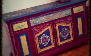 hand painted bohemian style table, painted furniture, repurposing upcycling