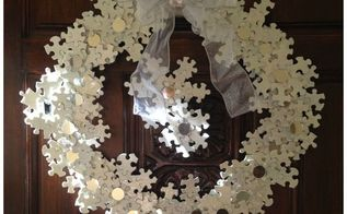 from old puzzle to glittery snowflake wreath, christmas decorations, crafts, how to, seasonal holiday decor, wreaths