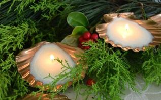 beautiful gold candles made using spray paint and sea shells, christmas decorations, crafts, seasonal holiday decor