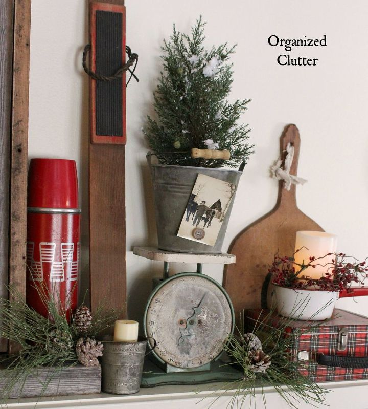 Country Christmas Mantels: Anchoring A Christmas Mantel With An Old Weathered Window