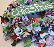scrap fabric christmas wreath, christmas decorations, crafts, how to, seasonal holiday decor, wreaths