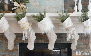 diy linen burlap christmas stockings, christmas decorations, crafts