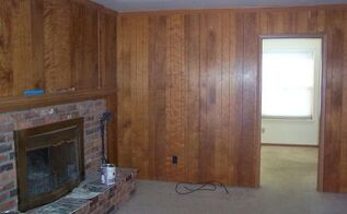 painted paneling and whitewashed brick fireplace, fireplaces mantels, home improvement, painting