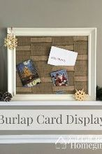 burlap greeting card holder, christmas decorations, crafts, seasonal holiday decor