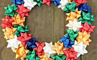 diy christmas bow wreath, christmas decorations, crafts, wreaths