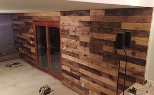 created a plank wall to replace paneling in lower level, diy, home improvement, wall decor, woodworking projects