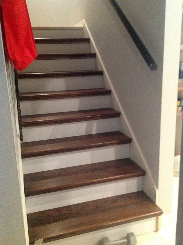 from carpet to wood stairs redo cheater version. Black Bedroom Furniture Sets. Home Design Ideas