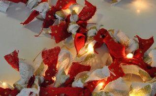 holiday burlap lighted garland, crafts, seasonal holiday decor