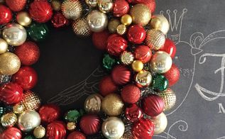 christmas ornament wreath, christmas decorations, crafts, seasonal holiday decor, wreaths, Gold Red and Green