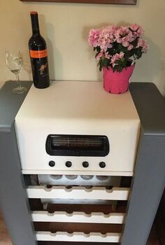 record radio cabinet made into, painted furniture, repurposing upcycling