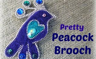 pretty peacock brooch made with a zipper and felt tutorial included, crafts, how to