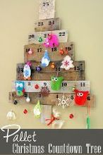 pallet christmas countdown tree, christmas decorations, pallet, seasonal holiday decor, woodworking projects